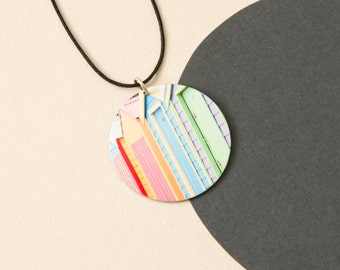 Beach box Pendant - Reversible abstract necklace
