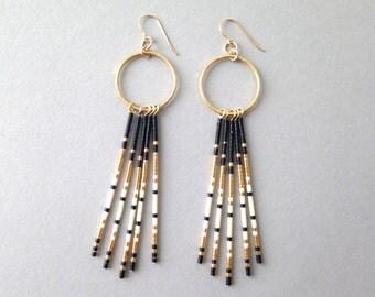 Bohemian fringe earrings / Native american beaded fringe earrings / Black