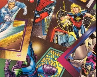 Superhero trading cards.