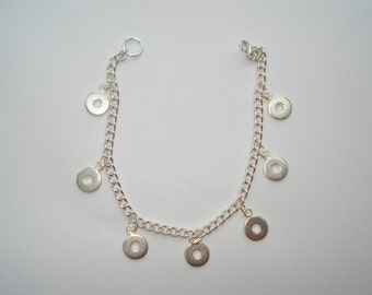 """Silver Tone Bracelet with Round Metal Charms 7"""""""