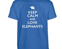 Keep calm and love elephants Tshirt kids children's toddler animal heart lover pet cute pink blue red green gift tumblr instagram zoo 2039
