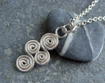 Sterling Silver 'Tregeseal' Pendant and Chain. Handmade Jewellery by Joel Martin of Cornwall