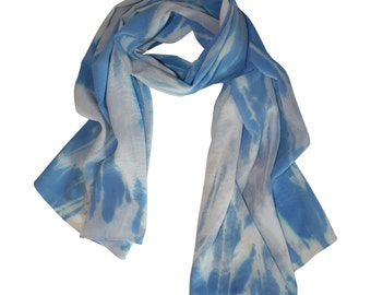 Hand Painted Silk Scarf, Blue and Grey / Women's Silk Scarf / Spring Scarf / Hand Dyed Silk Scarf / Blue Scarf / Blue Silk Scarf