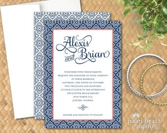 Venetian Invitation - Elegant Modern Wedding Invitation - Birthday, Engagement, Anniversary Party or Bridal Shower Invitation