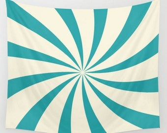 Circus Teal Nursery Wall Tapestry Carnival Theme Circus Swirl Sunburst Design Blue Green Cream Off White Dorm Room Home Decor
