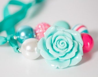Bubblegum Necklace -Caitlyn Candy Necklace - Hot Pink - Aqua - Pearl - Womens Necklace