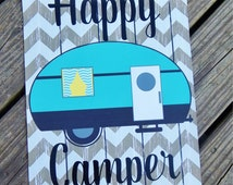 Camper Garden Flag - Personalized - banner material - vinyl lettering - very durable - outside RV decor -