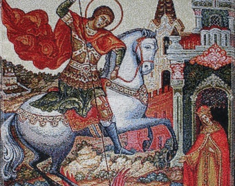 Antique Icon Saint George Victorious St. George Slaying the Dragon Coat of arms of Moscow Russian gobelin tapestry