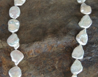 Stunning!!! 22mm Keshi Pearl Necklace