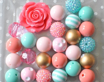 Chunky beads Coral and Aqua necklace kit, 20mm bubble gum bead mix plus resin flower, Light pink gold acrylic plastic beads for kids jewelry