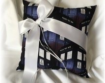 Doctor Who Wedding Ring Bearer Pillow, Navy Dr Who Ring Pillow, Scifi Wedding Ring Pillow, Doctor Who Ring Pillow, Doctor Who Wedding