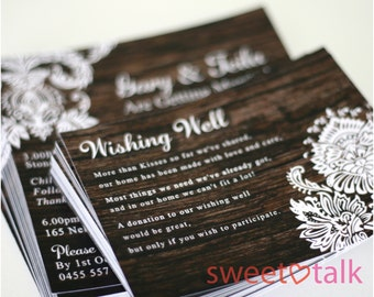 Wedding WISHING WELL CARDS - Vintage Rustic Wood with White Damask Lace