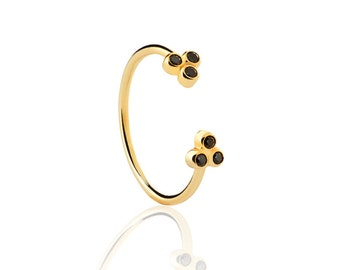 Gold plated silver ring - Gold ring - Simple gold ring - Minimal jewelry - stacking ring - BLACK ZIRCON