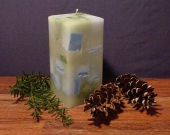 """3"""" square blue green and white pillar candle"""