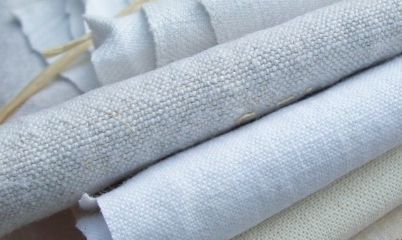 Bundle of Vintage French Fabric Various Linens Hemp Toile Flax Calico Material Pieces