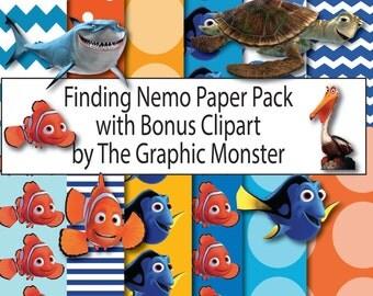 Finding Nemo Digital Paper, Nemo Scrapbook Paper,  Finding Nemo Scrapbook Paper, Instant Download, Dory Scrapbook, Finding Nemo Paper