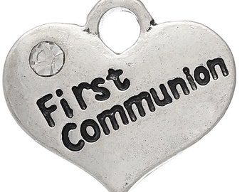 First Communion Heart Charm with Stone *add on* Only