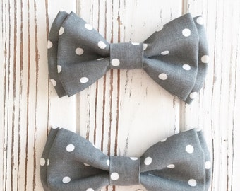 Dark grey polka dot bow tie - Daddy and son - Brothers matching piece - custom bowties - Gray bowtie -god and owner bow ties