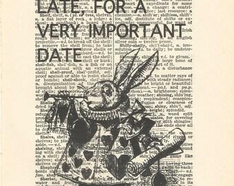 alice in wonderland vintage print white rabbit quote