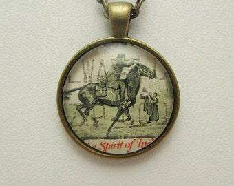 Horse Glass Necklace, Jockey Glass Necklace, Stamp Necklace, Stamp Pendant, Stamp Jewelry, Glass Necklace, Glass Pendant, Glass Jewelry