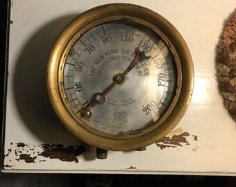 Vintage Ashcroft brass locomotive break gauge