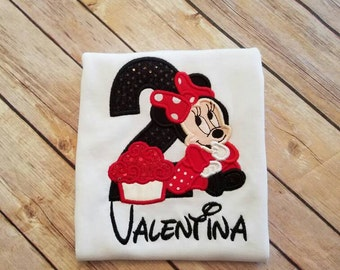 Minnie Mouse birthday shirt. Can do any age. Pick your fill and thread color!