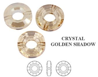 2 pcs Golden Shadow 12.5mm Swarovski 5139  Ring Beads, Swarovski 5139 12.5mm Ring Bead, Swarovski Golden Shadow Ring Bead, Clearance Sale