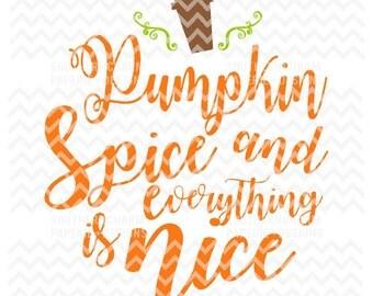 Pumpkin Spice Everything Latte Pumpkin SVG Cut File Fall Coffee Bonfire Autumn Inspiration Word Text Latte Spice Stem