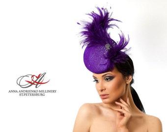 Purple Violet Designers Fascinator, Melbourne cup hat, Royal Ascot horse race hat, Wedding quest tea party hat, couture derby fascinator