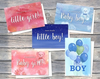 Baby Greeting Cards Pack, Baby Card Pack, Baby card, Baby Girl card, Baby, Boy, Girl, Pink, Blue, Baby cards, Little boy, Little girl, Cute