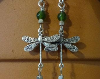 Dragonfly Dangle Earrings - Emerald Adventurine