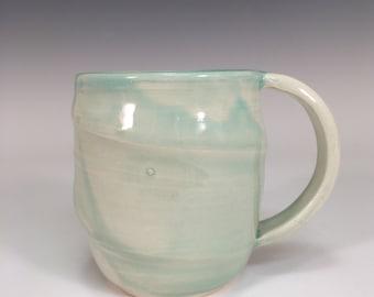 Light Blue Mug || transparent blue mug | ceramic mug | handmade ceramics | wheel thrown | big coffee cup | swirl clay cup | organic ceramics