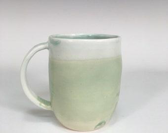 Two Blue Mug || large mug | handmade ceramics | wheel thrown | green and blue | coffee mug | gifts | modern mug | clay dishware |