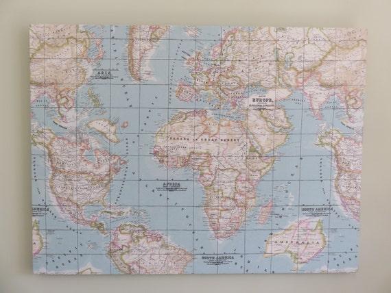 World Map Atlas fabric pin board cork board notice board