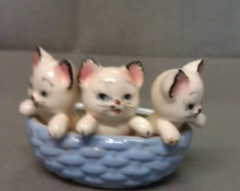 California Originals White Cats with pink eyes  nose and mouth and Blue Eyes in Blue Basket Figurine