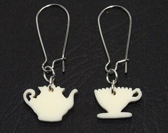 Tea Party Dangle Earrings, High Tea Earrings, Teapot and Teacup Earrings, Teapot Earrings, Teacup Earrings, Tea Jewelry, Titanium Dangles