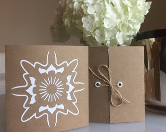 Mandala Greeting Folded Card | Kraft Paper Card | Thank You Note | Birthday Card (Set of 2)
