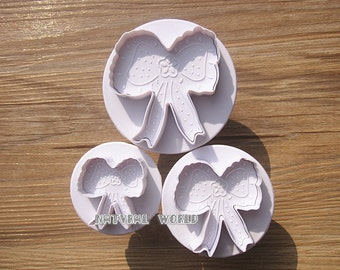set of 3 lace bowknot cookie cutter, fondant Decorating cutter,Sugarcraft biscuit mold, Paste Tools Cupcake cake accessories,cake molds