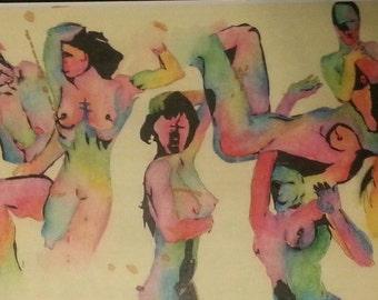 "WILD WOMEN  PRINT 11""x17"" watercolor & ink brilliant female figure study"