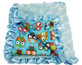 Owl Monogrammed Blanket- Baby Blanket- Swaddling Blanket- Custom Embroidery- Minky Blanket- Ruffle Blanket- Baby Shower Gift- New Baby Gift