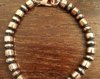"""This attractive 7"""" inch bracelet consists of 6mm satin finish solid copper beads and a copper lobster clasp."""