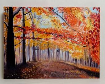 "Autumn Painting Landscape tree oil painting Free shipping Size: 15,7"" x 11,8"" x 1,2"" (40cm x 30 cm x 3,7cm)"