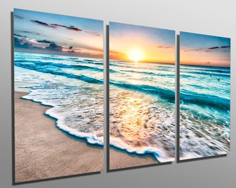 metal prints los angeles skyline at night 3 panel split