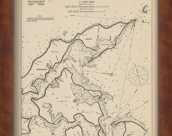 Sag Harbor, Orient, and Greenport - Nautical Chart by George W. Eldridge 1901