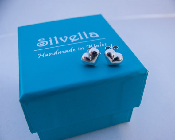 Puff Heart Stud Earrings - Gift For Her - Silver 3D Heart Studs