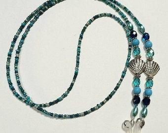 Ocean Blue Eyeglass Chain, Seashell Reading Glasses Holder, Eyeglass Necklace, Glasses Chain,Beach  Sunglasses Holder