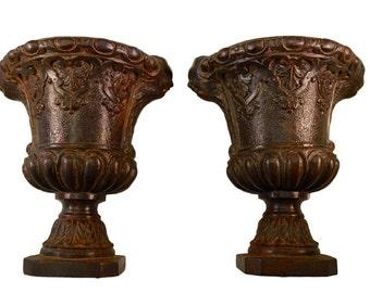 French Antique Medicis Urn Vase - Centerpiece Jardiniere Planter Cachepot Pot - Romantic Garden Decor