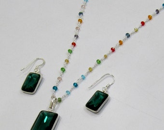Sterling Silver Pendant Set with multi Beaded chain/ Rectangle Shape Stone / Size16x36mm including Bail /Hydro Quartz Stone Jewelry