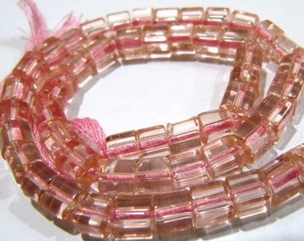 AAA Quality Pink Color Hydro Quartz Beads / 5mm Size Plain Cube Shape Beads / Strand 10 inch long / 55 to 60 Beads approx per Strand