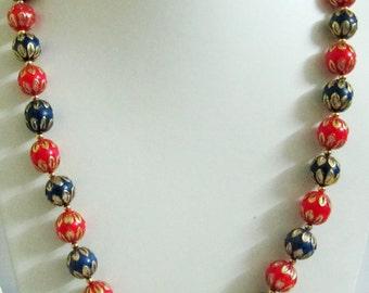 Vintage Art Deco Beaded becklace / Enamel Beads 12mm / Yellow metal/ Indian Enamel Art/Exclusive Handmade Design/ 21 inch Long